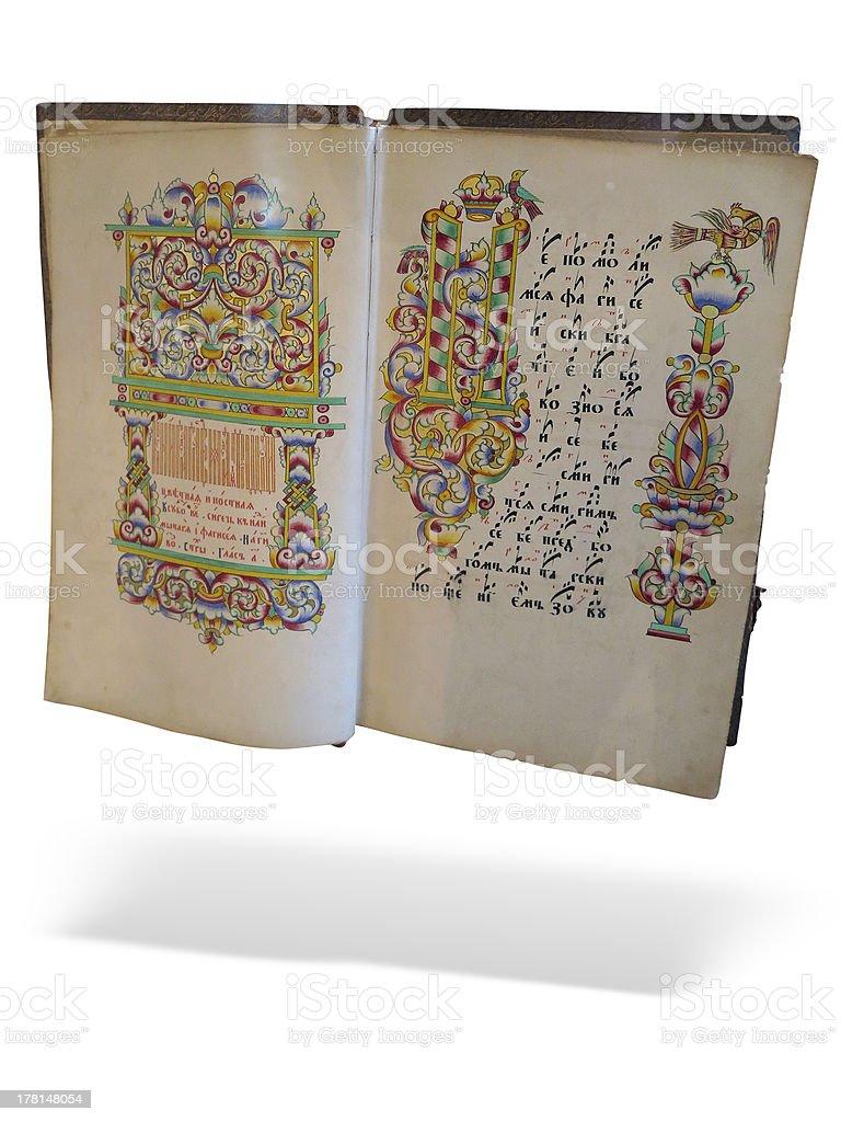 Velho abrir Antiguidade Bíblia isolado em fundo branco foto de stock royalty-free