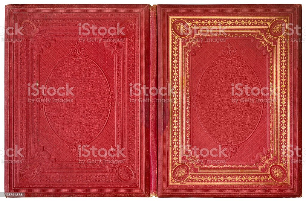 Old open book 1870 stock photo
