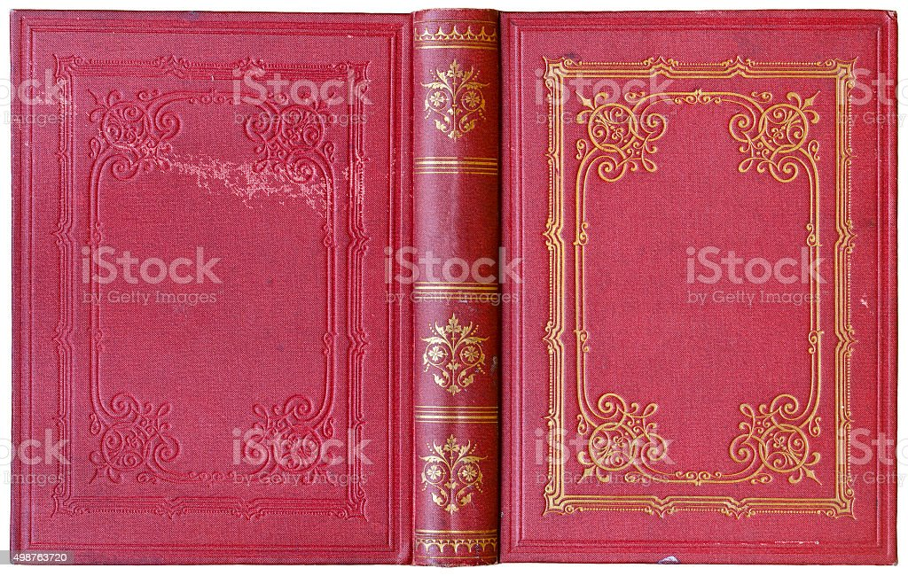 Old open book 1885 stock photo