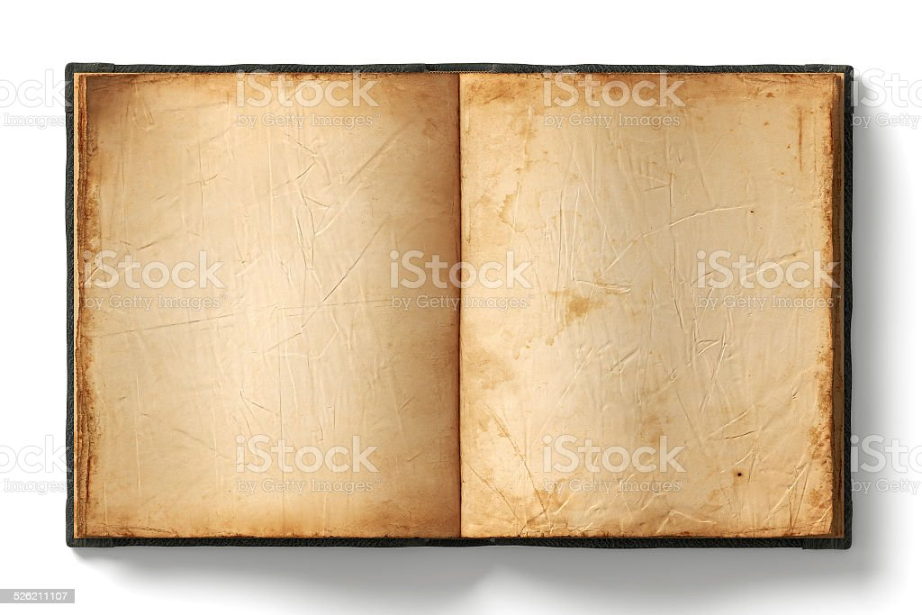 Old open book empty pages stock photo