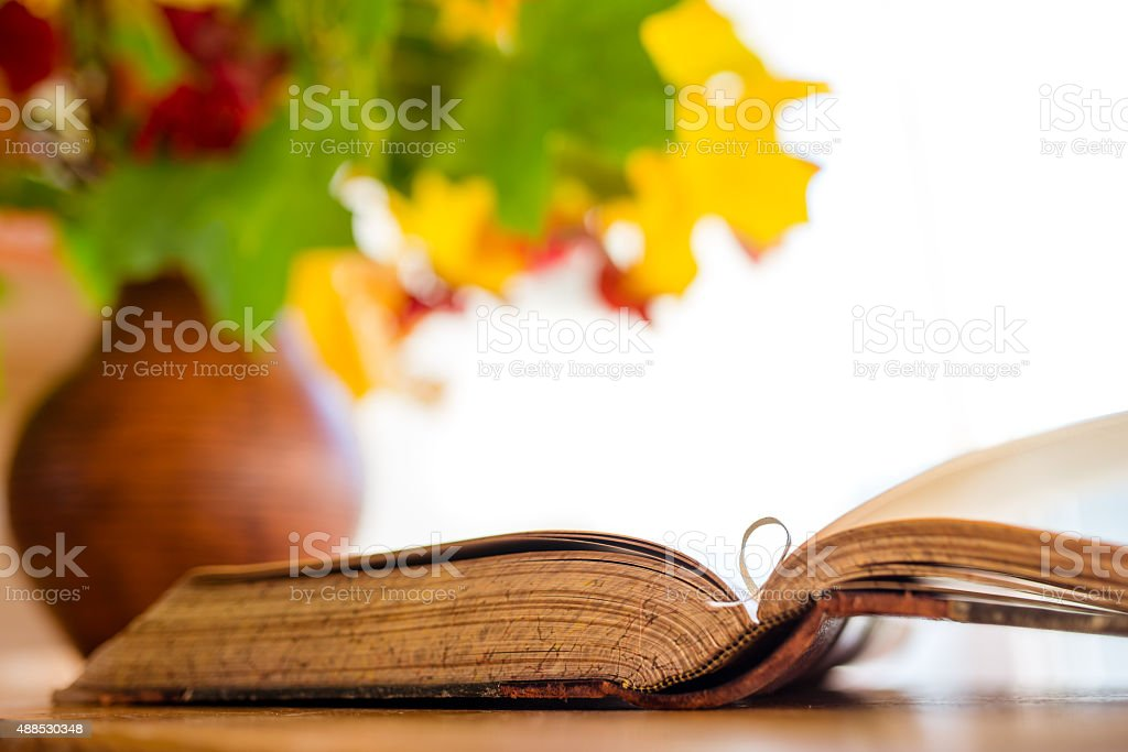 Old open book on the table stock photo
