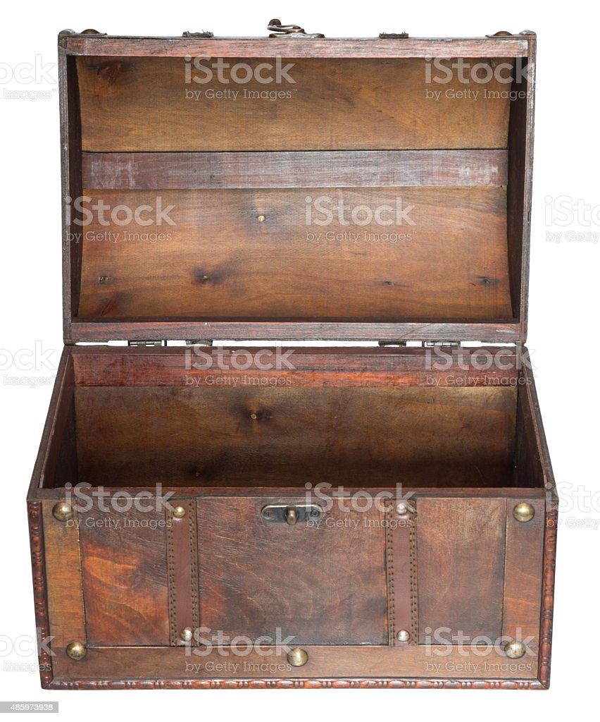 Old open chest. stock photo