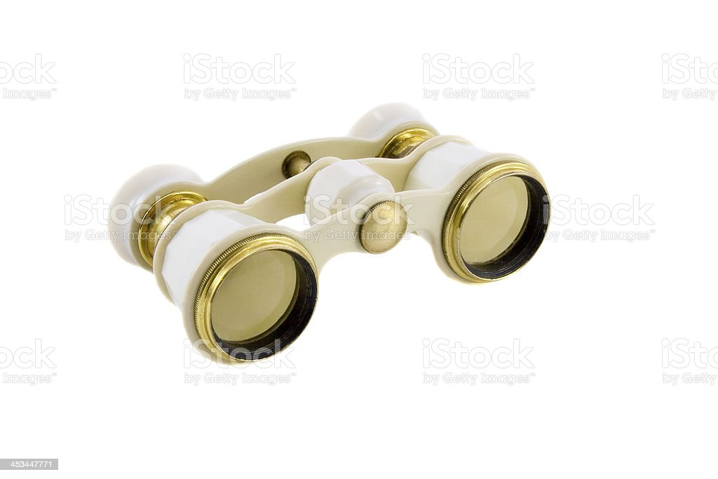 Old opera glasses isolated over white background royalty-free stock photo