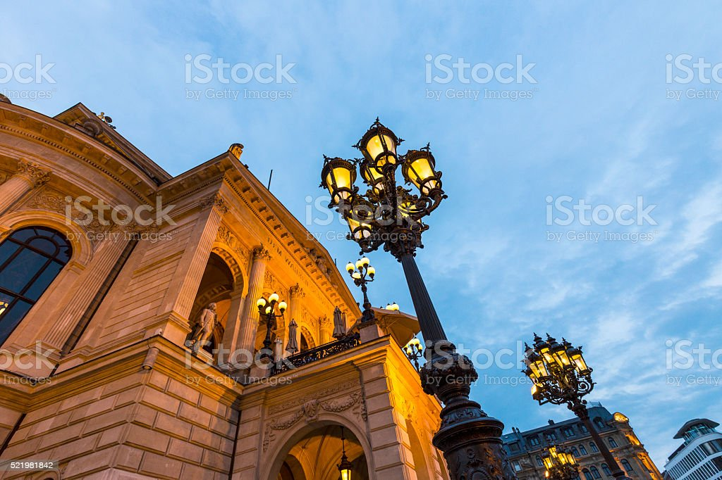 old opera house in Frankfurt by night stock photo