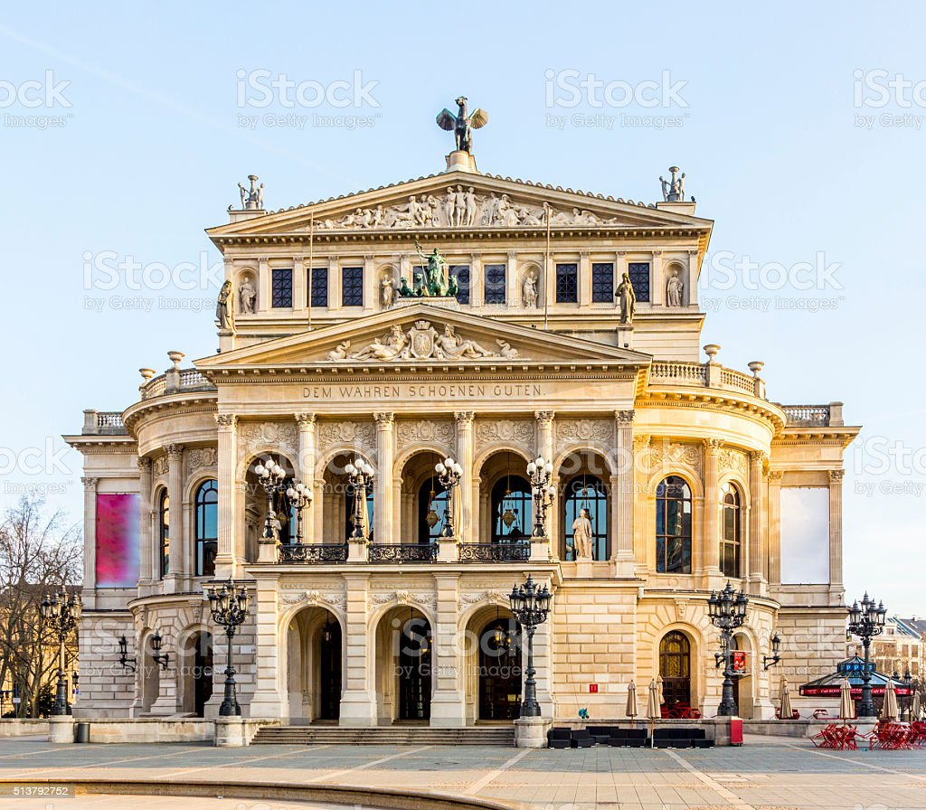 Old Opera House in Frankfurt  in the early morning stock photo