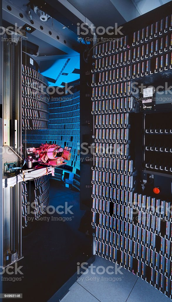 Old optical archiving system in a big informatic industry royalty-free stock photo