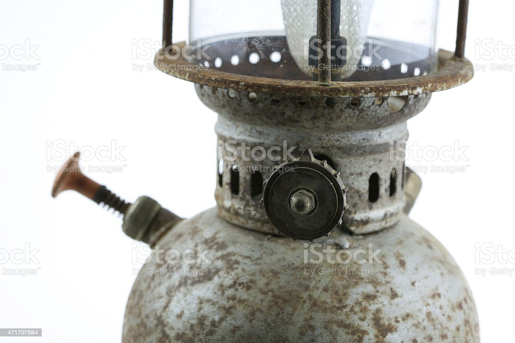 Old or vintage hurricane lamp on white background stock photo