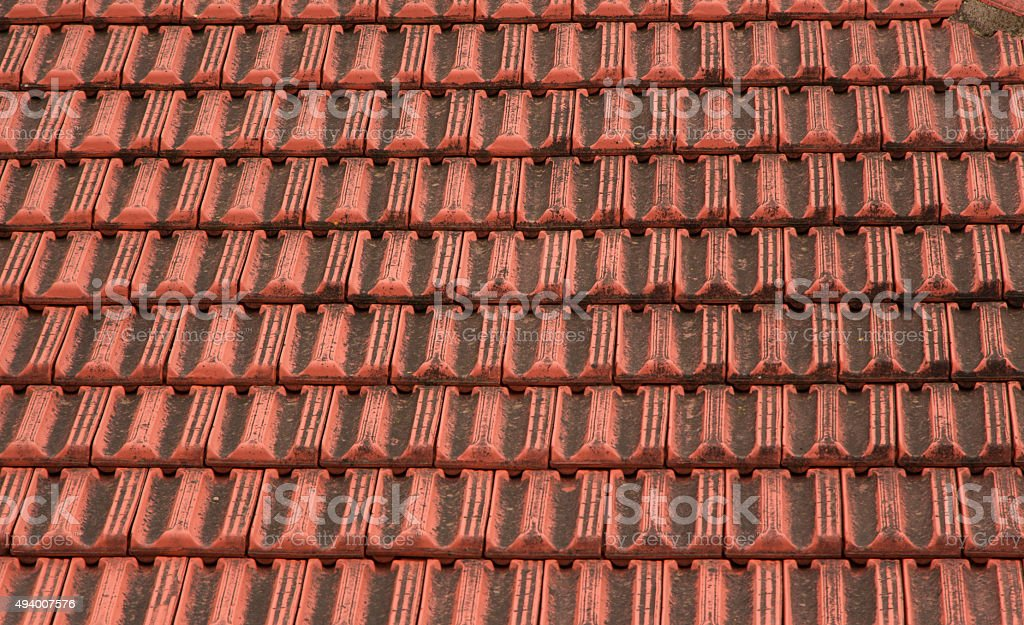 Old Orange Red Roof Tiles Top stock photo