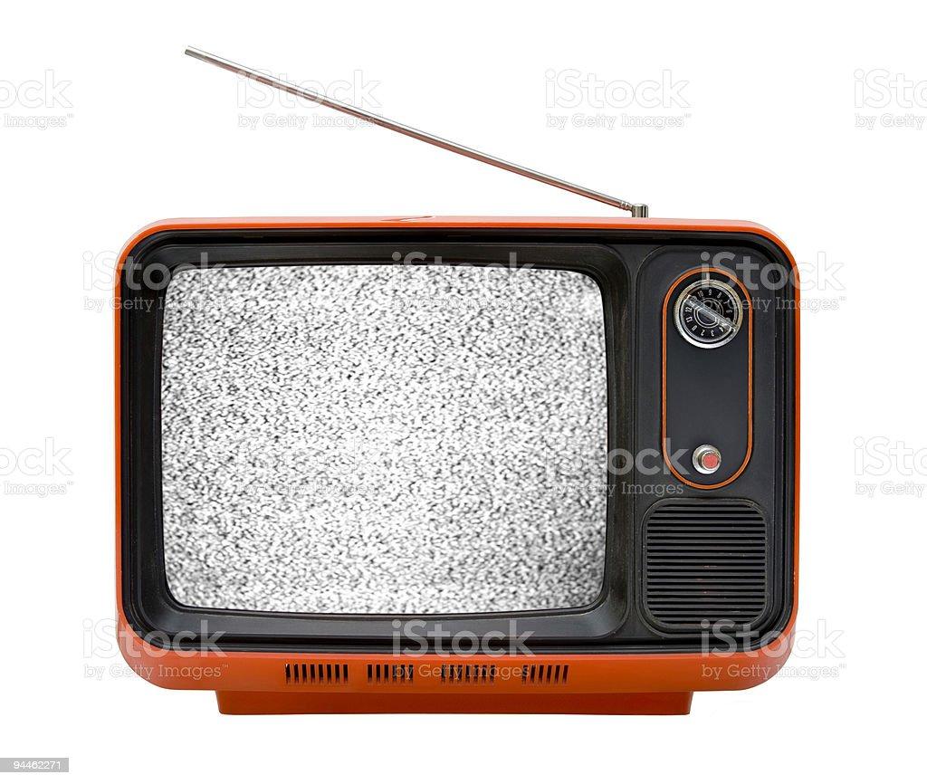 Old orange television with interruption stock photo
