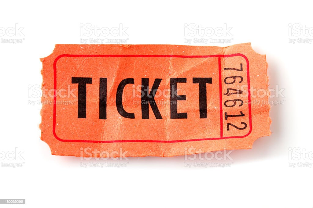 Old orange Ticket stock photo