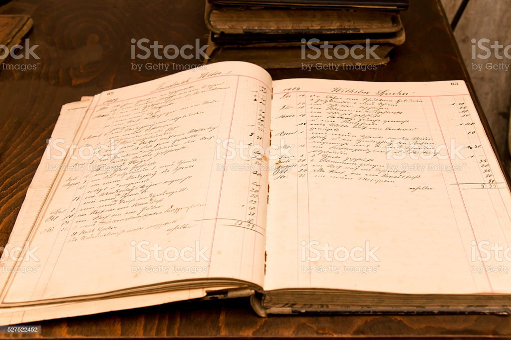 Old Order Book from 1909 stock photo