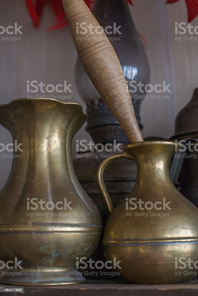 Old oriental vase and mortar stock photo