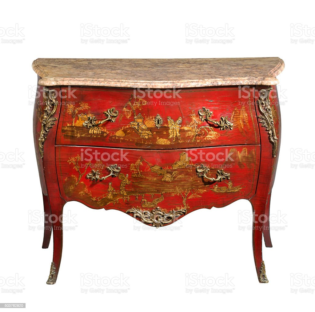 old original japaned vintage wooden chest of drawers isolated stock photo