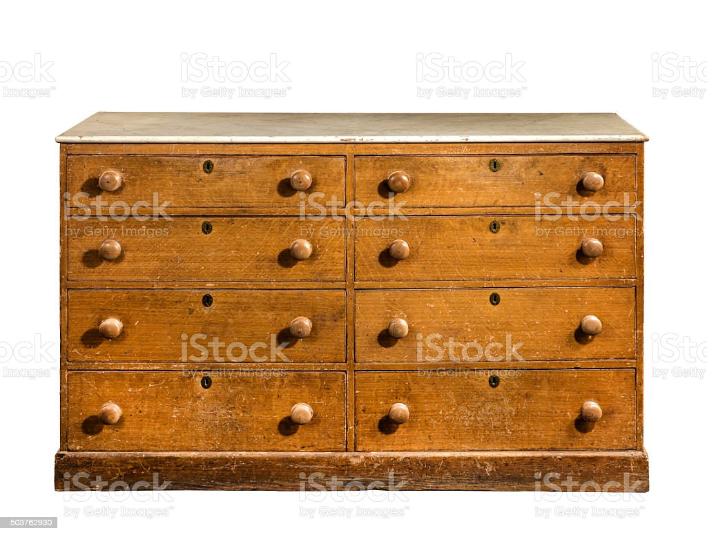 Old original vintage wooden pine painted bureau, cabinet dresser stock photo