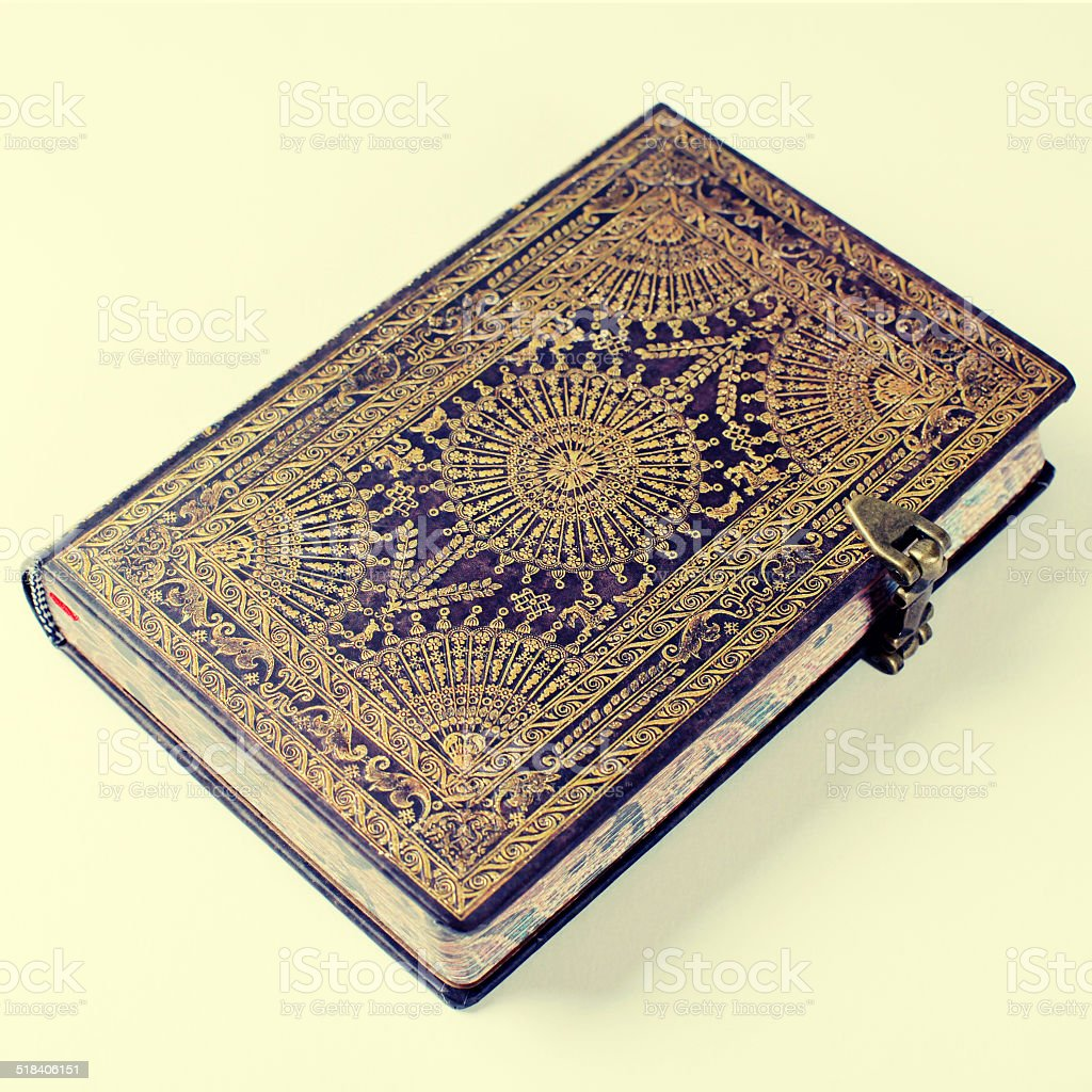 Old ornate notebook stock photo