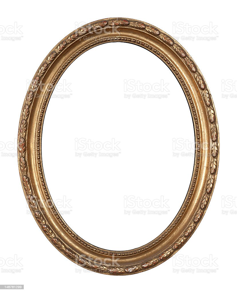 Old, oval, golden, inlayed wooden frame. stock photo