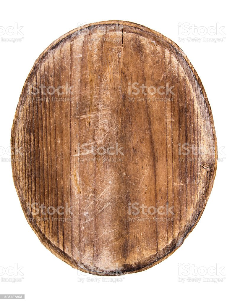 old oval wooden tablet isolated on white background stock photo