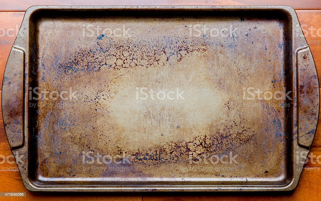 Old oven baking tray stock photo