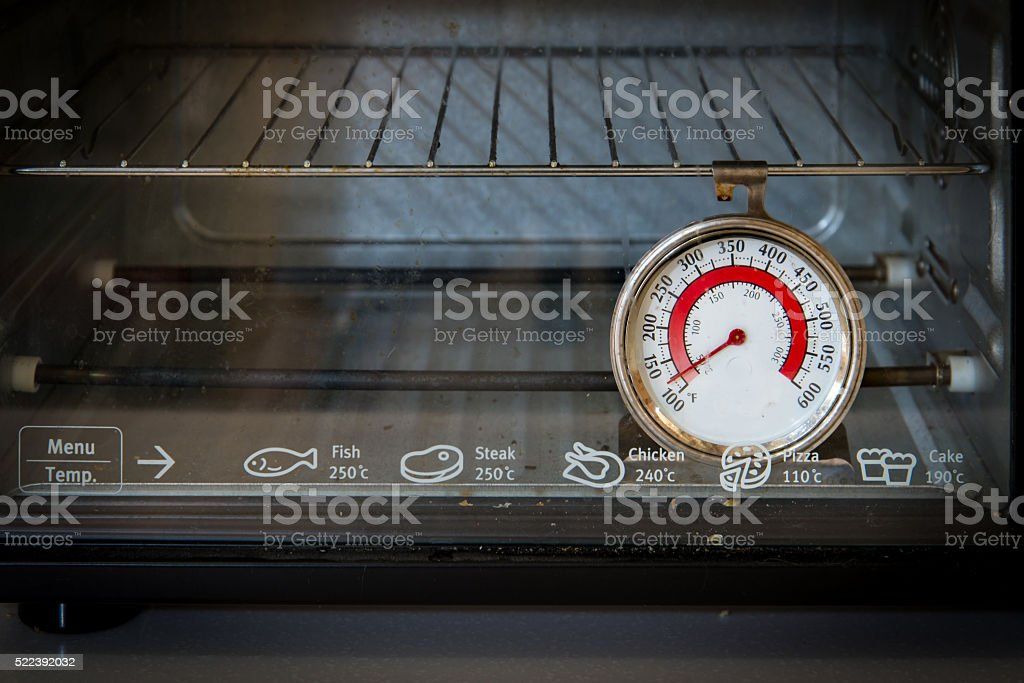 Old oven thermometer stock photo