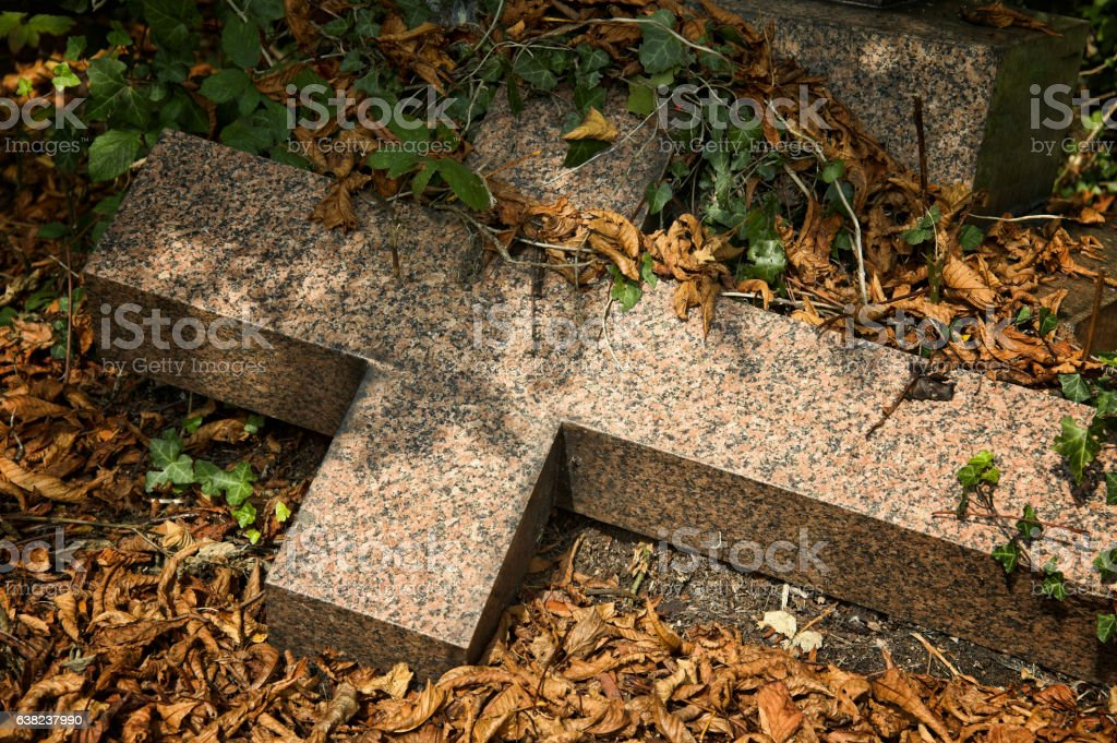 Old overgrown fallen cross stock photo