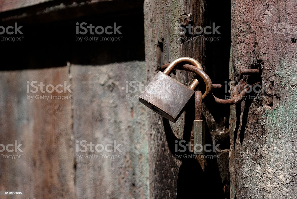 Old padlock close up with copy space stock photo