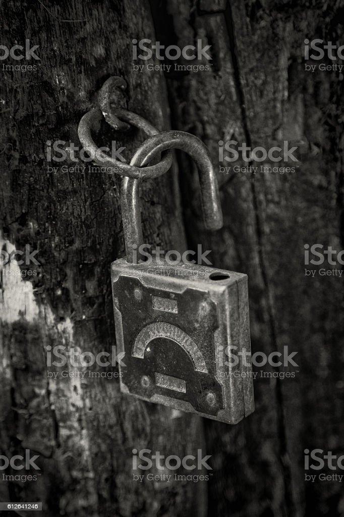 Old padlock hanging on the rotting jamb stock photo
