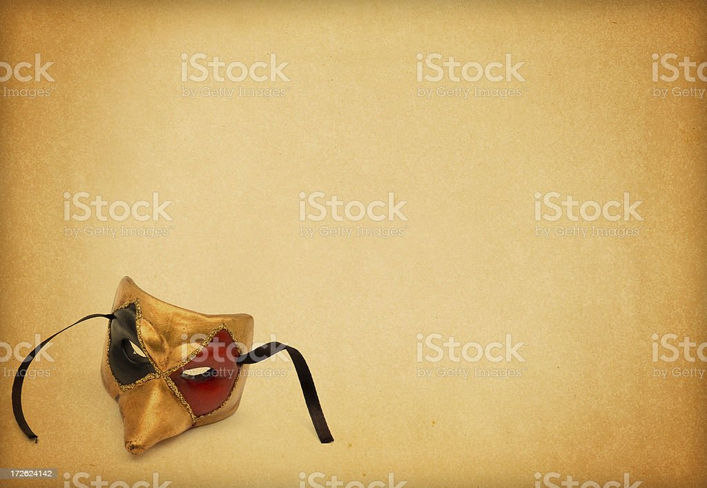 Old Page and Venetian mask royalty-free stock photo