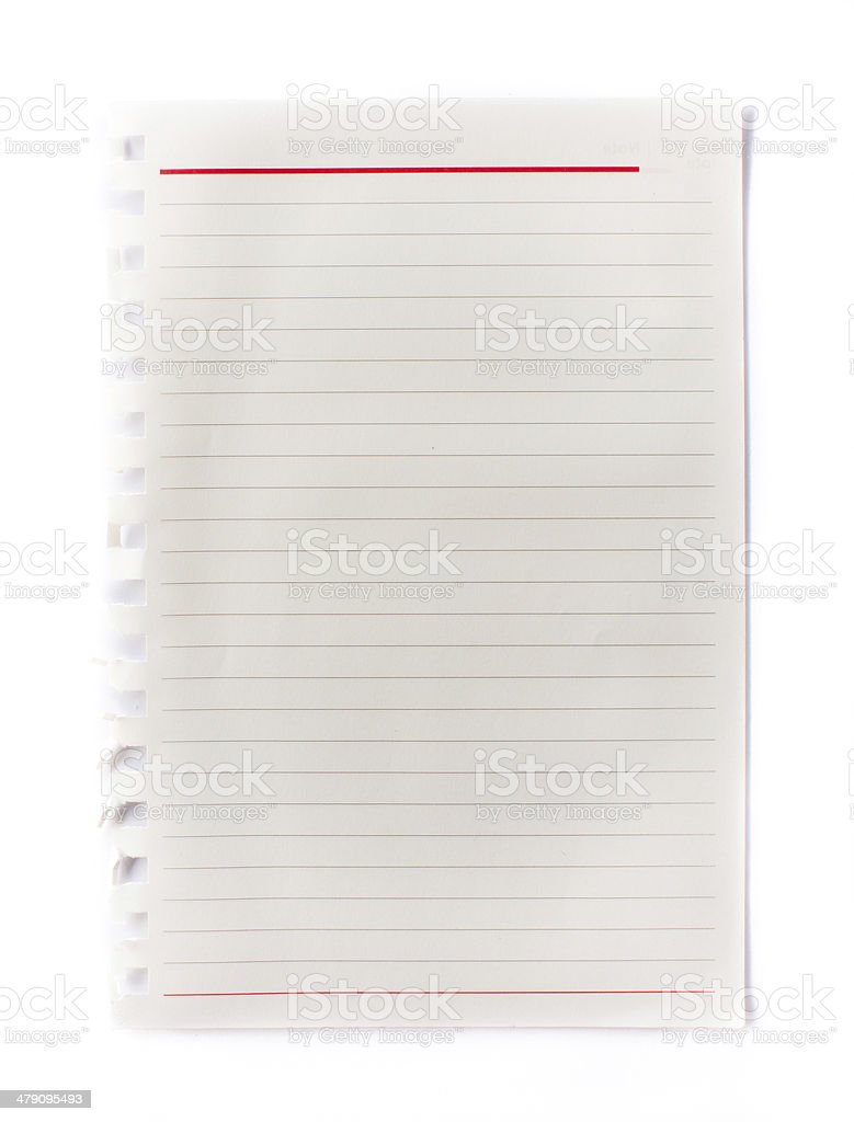 Old page ripped off from the notebook. stock photo