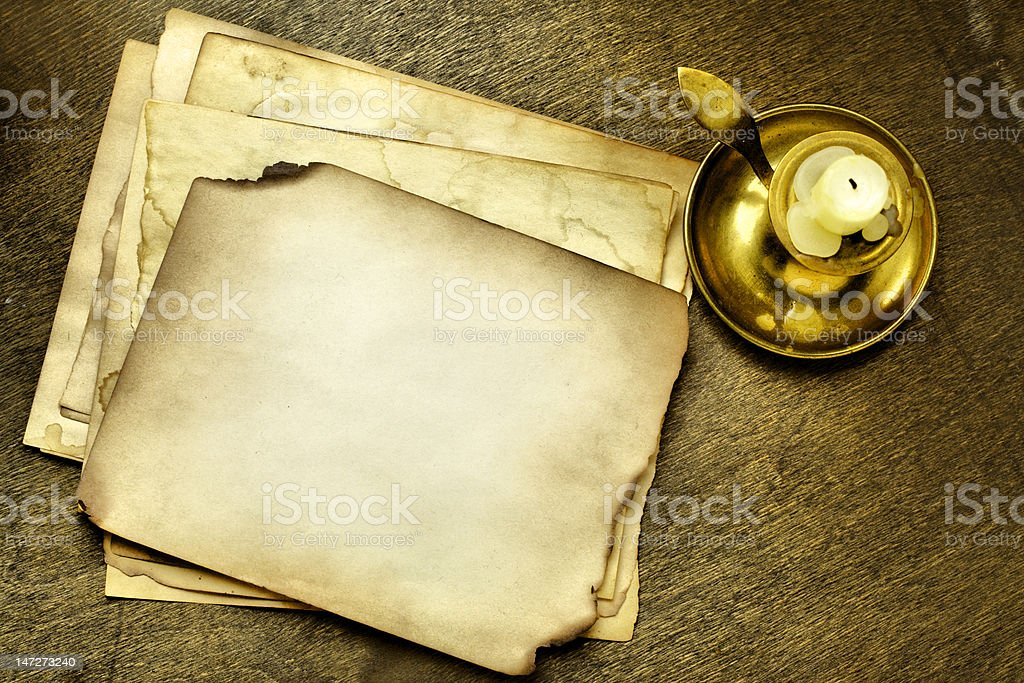 Old pages and candle royalty-free stock photo