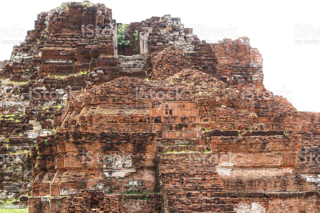 Old Pagoda ancient red brick wall stock photo
