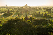 Old pagoda field sunrise time at Bagan,