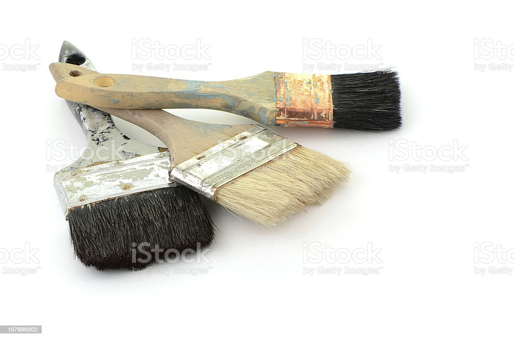 Old paint brushes royalty-free stock photo