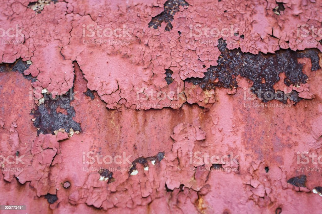 Old paint on a rusty metal, rusty metal texture background stock photo