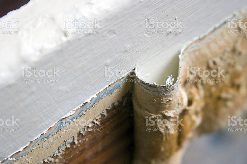 Old paint peeled back stock photo