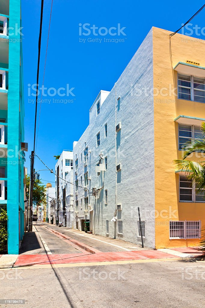 old painted brick houses in South Miami royalty-free stock photo