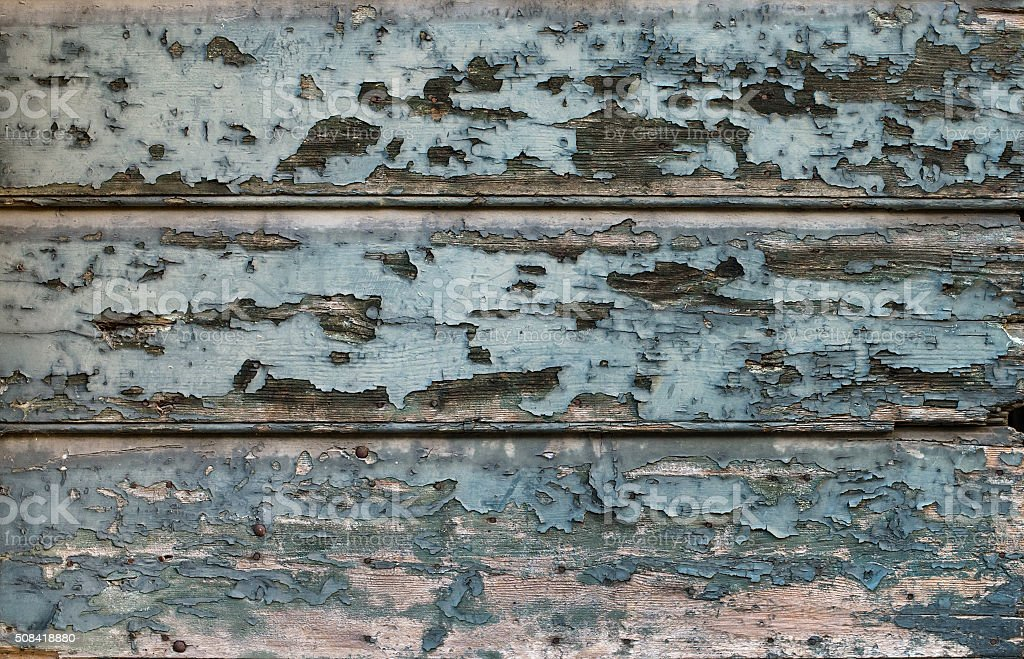 Old painted cracked blue wooden texture. Vintage rustic style. Natural stock photo