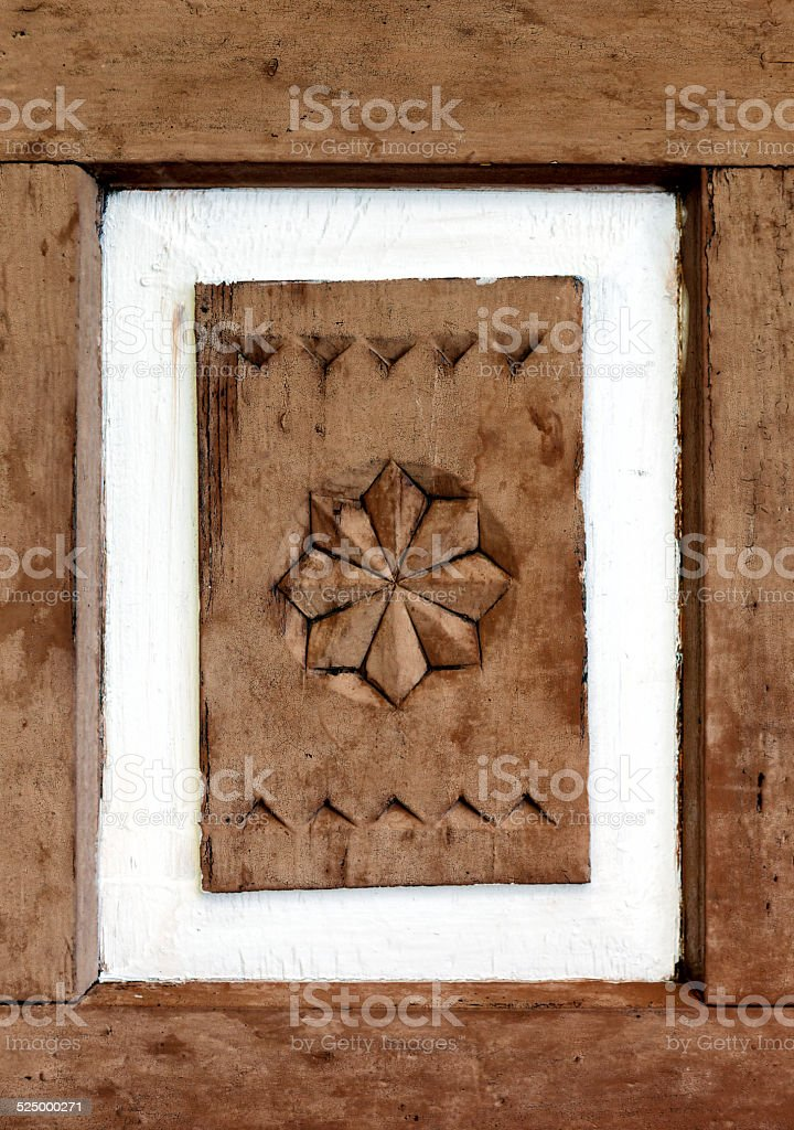 Old painted ornamental element. stock photo
