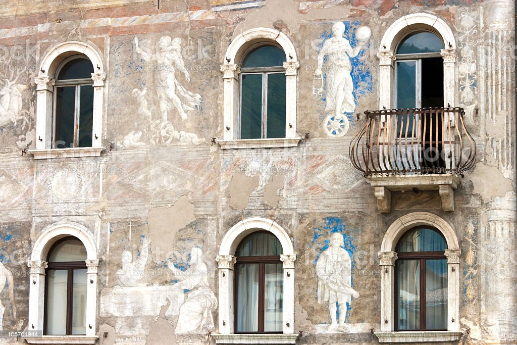 Old Painted Palace in Trento's Historical center, Italy stock photo