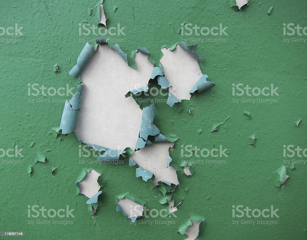 A old painted wall peeling away stock photo