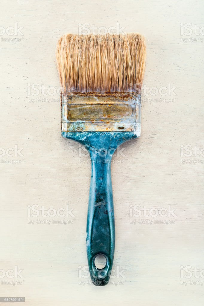 Old painting brush stock photo