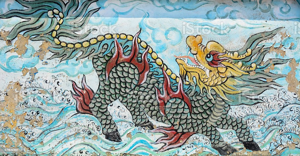 Old painting dragon on the wall of Chinese temple stock photo