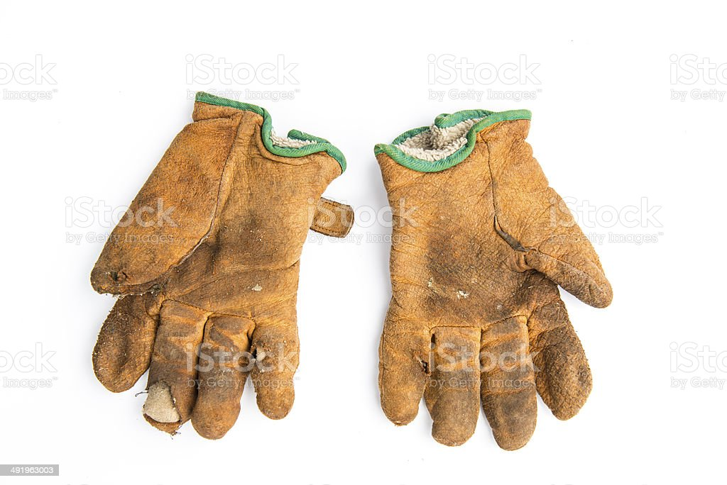 old pair of gloves stock photo