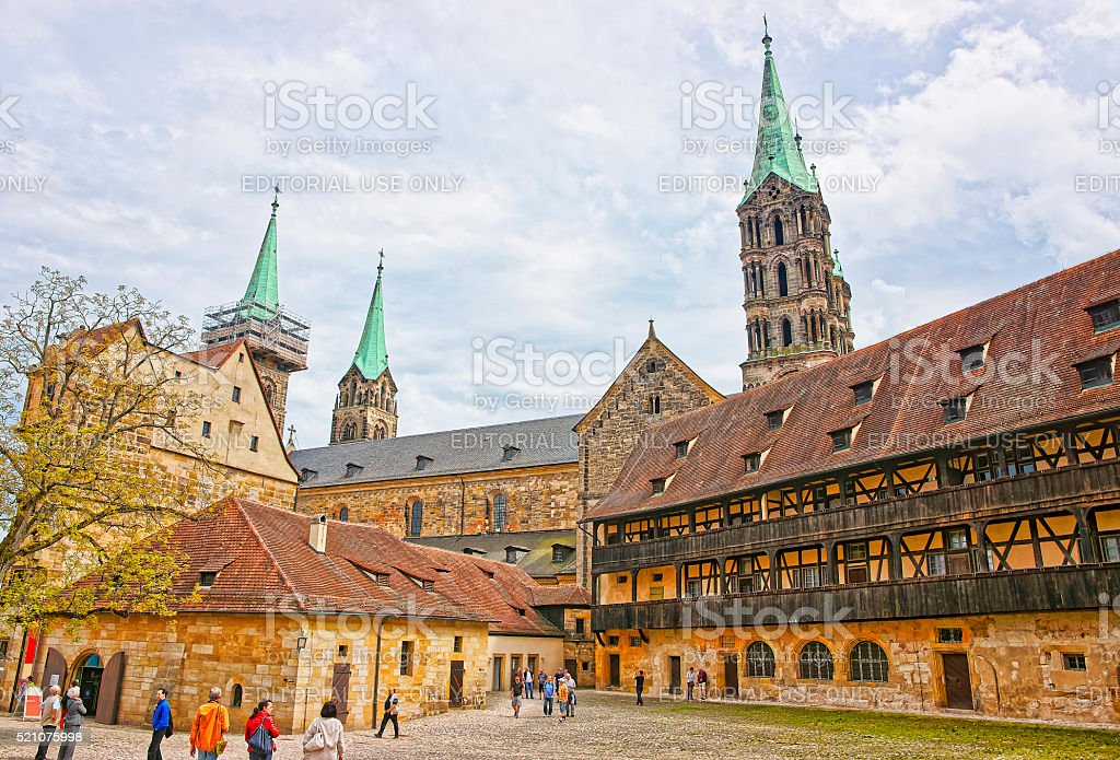 Old palace and Bamberg Cathedral in the Bamberg city center stock photo
