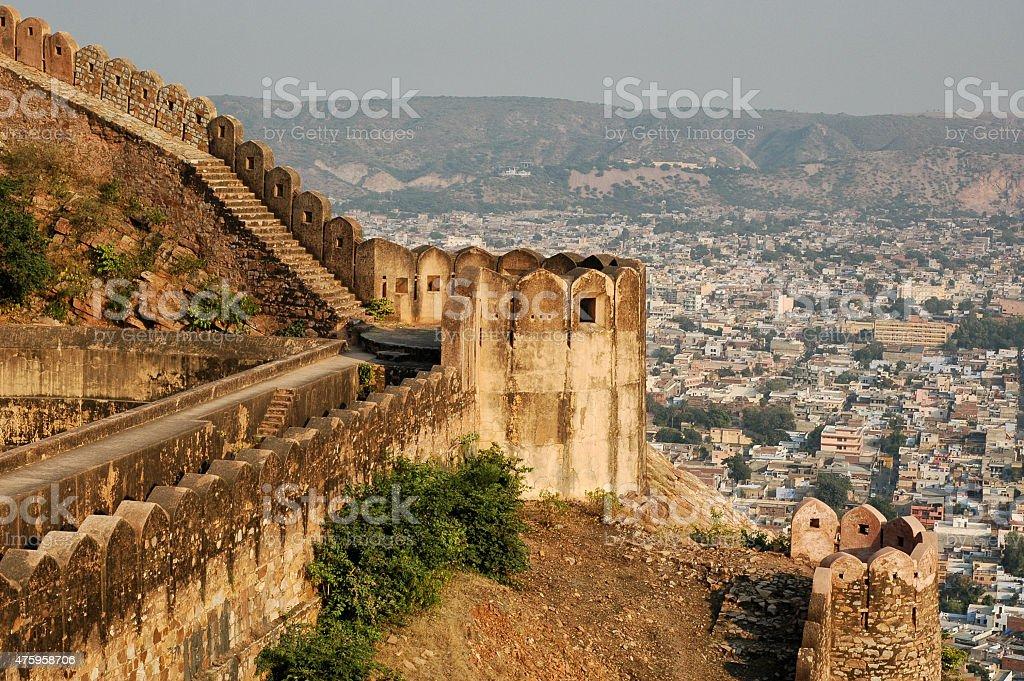 Old palace in Jaipur. Slums, poor neighbourhoods in India. stock photo