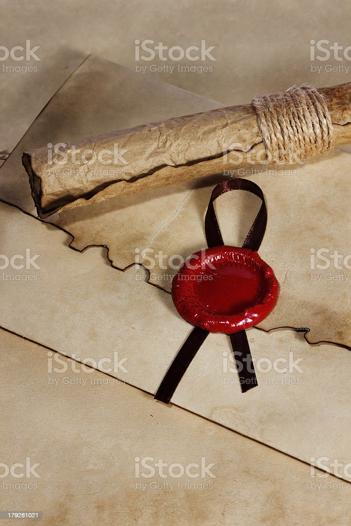 old paper, ancient parchment  scroll royalty-free stock photo