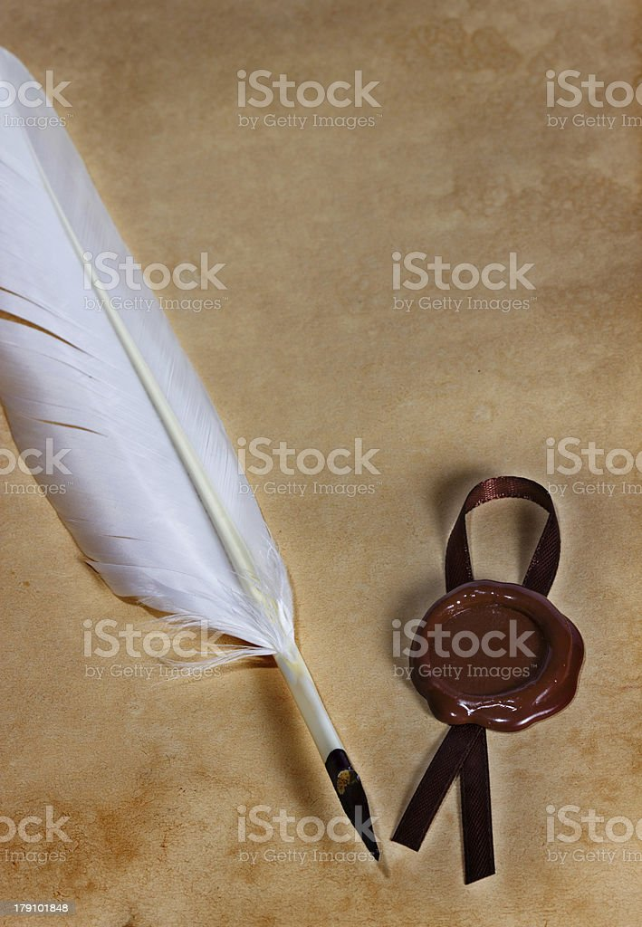 old paper, ancient parchment  with wax seal royalty-free stock photo