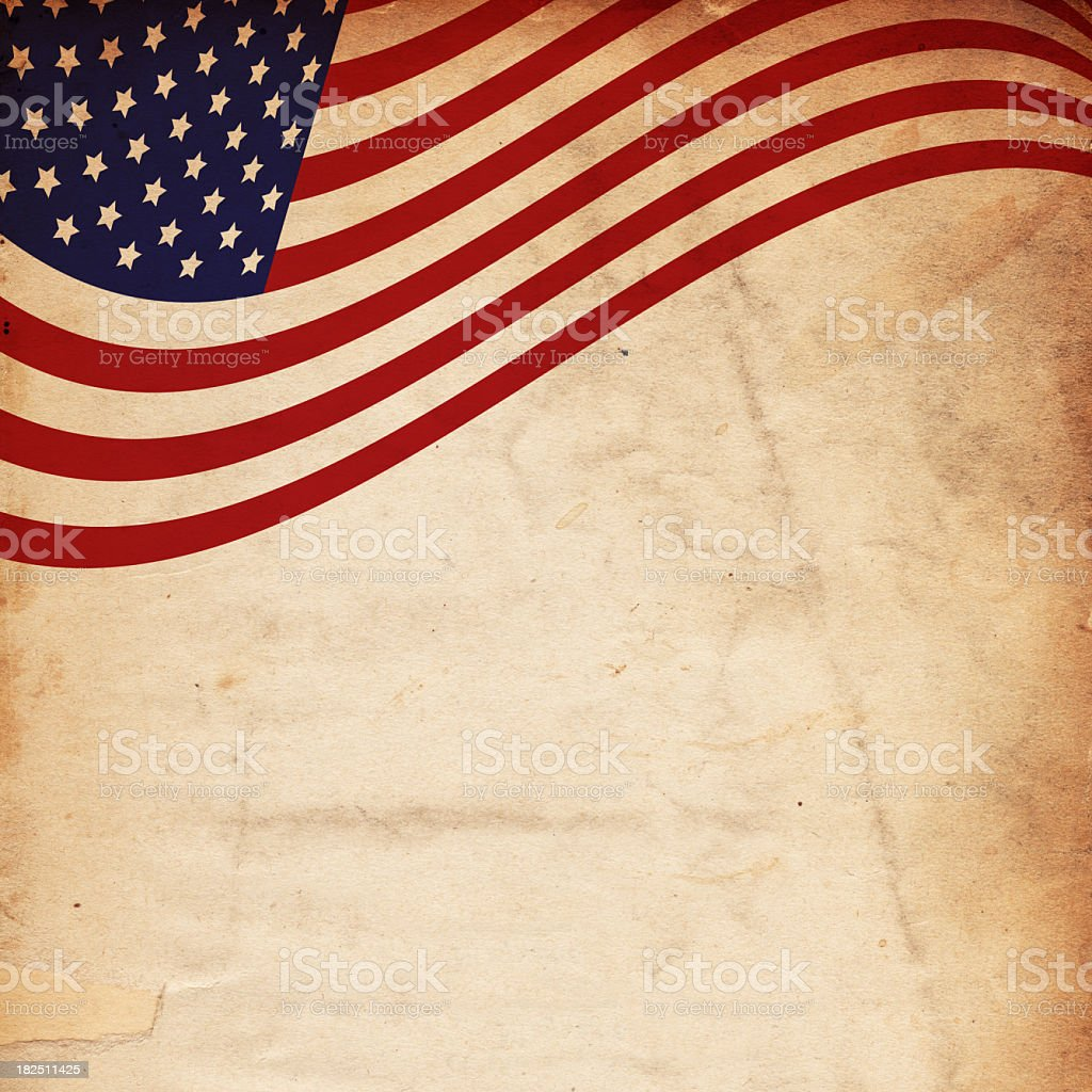 Old paper background with curly US flag on the top stock photo