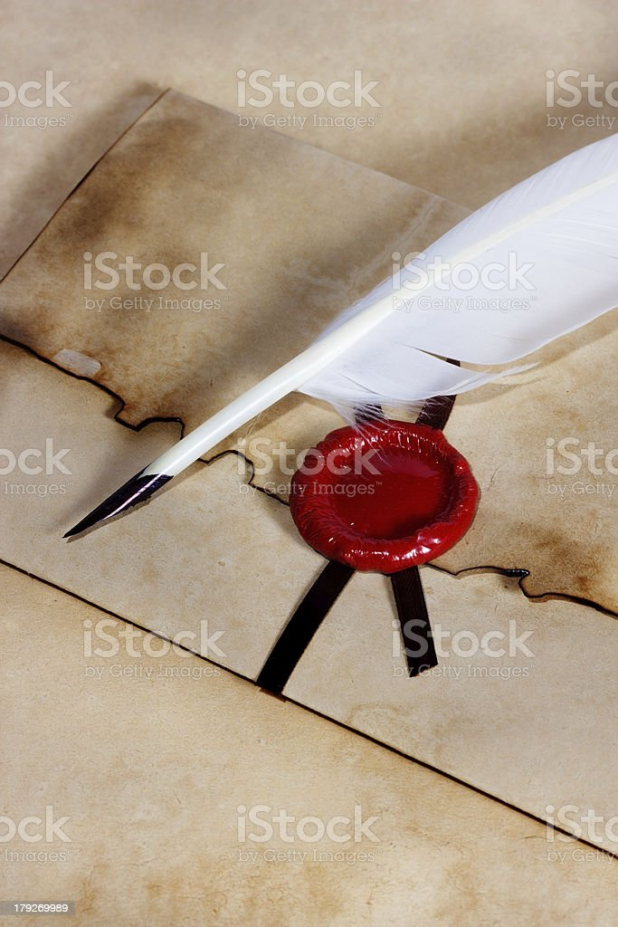 old paper, envelope of ancient parchment royalty-free stock photo