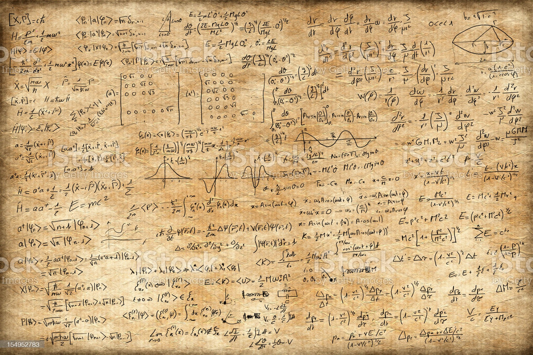 Old paper full of equations royalty-free stock vector art