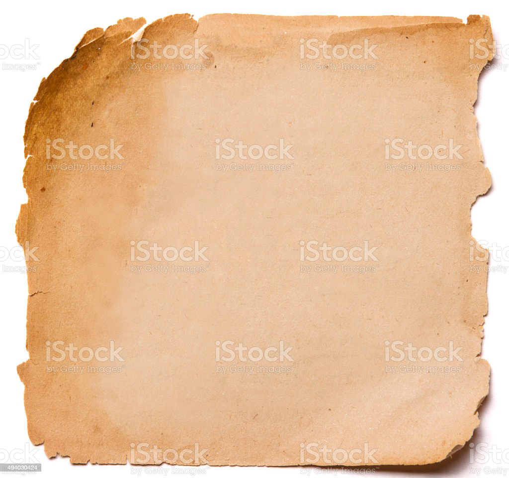 old paper grunge texture, empty yellow page white  isolated stock photo